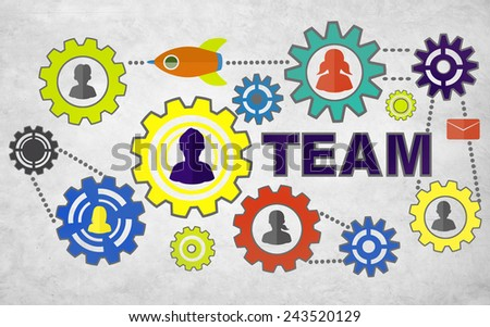 Collaborate Connection Togetherness Gear Corporate Team Concept - stock photo