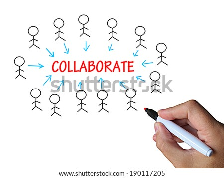 Collaborate On Whiteboard Meaning Cooperative Work Teamwork And Motivation