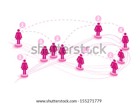 Collaboration breast cancer awareness concept illustration. Connecting social media women over World map.