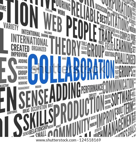 Collaboration concept in word tag cloud isolated on white background - stock photo