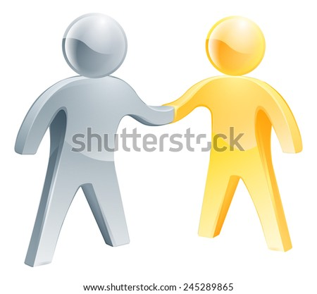Collaboration concept of two business partners doing a handshake - stock photo