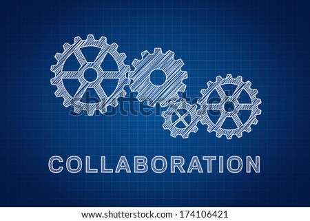 Collaboration Concept. Technical drawing of gears, the idea of teamwork and success. - stock photo
