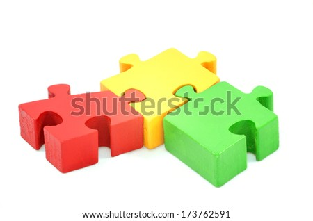Collaboration concept Turkish isbirligi jigsaw puzzle isolated on white - stock photo