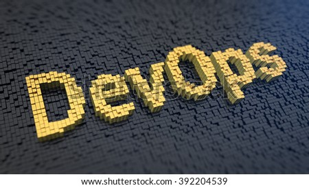 Collaboration of both software developers and IT specialists. Acronym DevOps of the yellow square pixels on a black matrix background. 3D illustration picture - stock photo