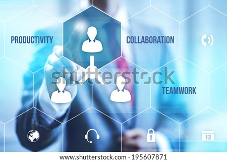 Collaboration teamwork concept pointing finger - stock photo
