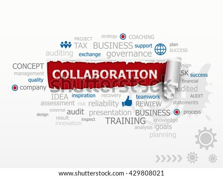 Collaboration word cloud. Design illustration concepts for business, consulting, finance, raster version - stock photo