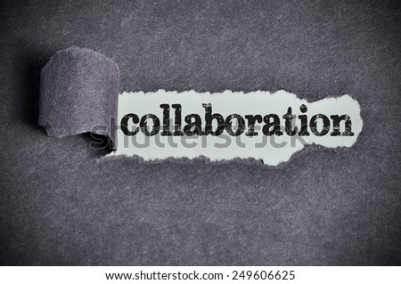 collaboration word under torn black sugar paper  - stock photo