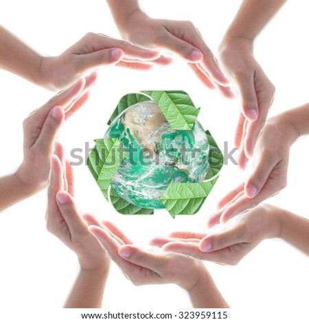 Collaborative human hands surrounding green planet protected by recycle sign leaf isolated on white background: Recycle, reduce, reuse csr idea concept: Element of this image furnished by NASA - stock photo