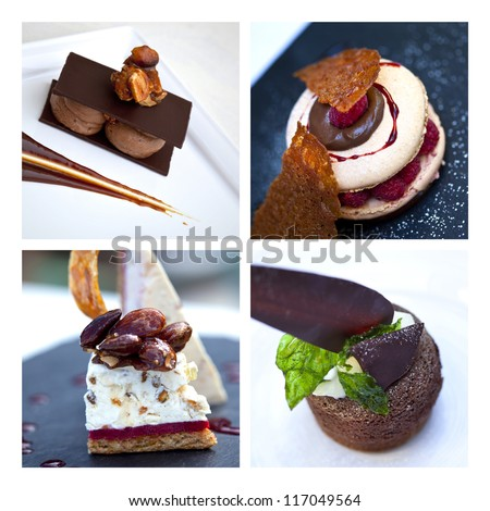 Collage about cakes and desserts