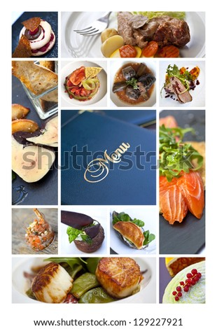 Collage about cooking and gastronomy - stock photo