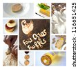 Collage about foie gras and cuisine - stock photo