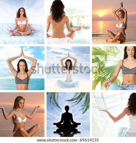 Collage about health and meditation - stock photo