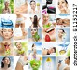 collage about healthy eating and healthcare - stock photo