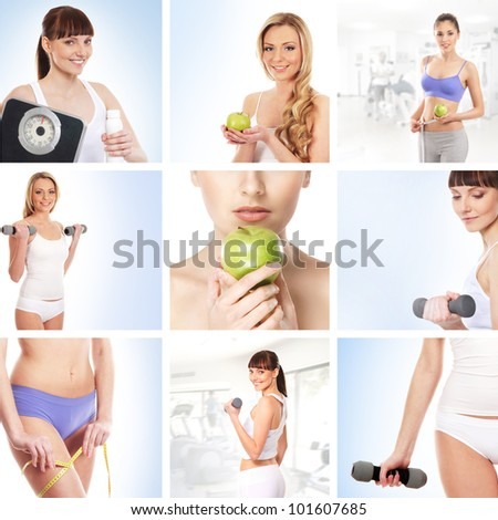 Collage about sport, dieting and healthy eating - stock photo