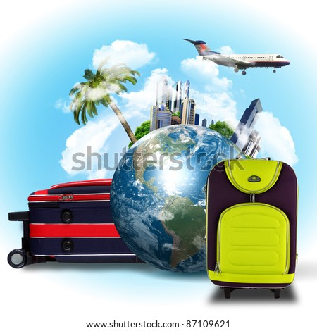 Collage about tourism and travel with planet earth and plane - stock photo