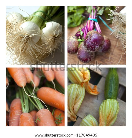 Collage about vegetables