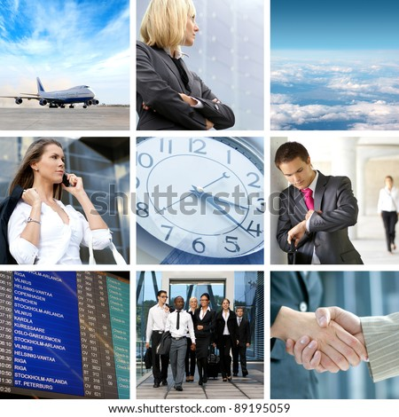 Collage abut business traveling - stock photo