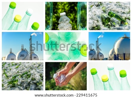 collage and composition about recycling of glass and plastic - stock photo