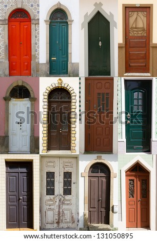 Collage assembled from different doors - stock photo