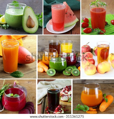 collage assorted fresh juices from fruits and vegetables - stock photo