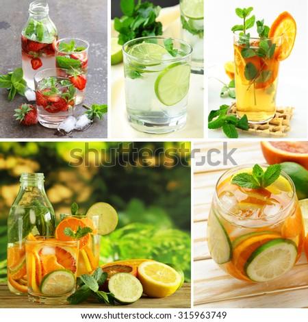 collage assorted fresh lemonade (orange, strawberry, lime) - stock photo