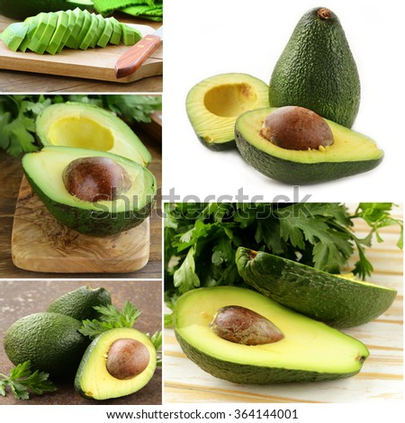 collage avocado on white and wooden background - stock photo