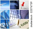 Collage background with business and travel concept - stock photo
