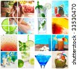 Collage background with cocktail and travel concept - stock photo