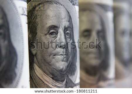 Collage, banknotes of the American dollars, selective focus