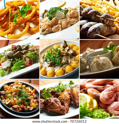 collage bar food - stock photo
