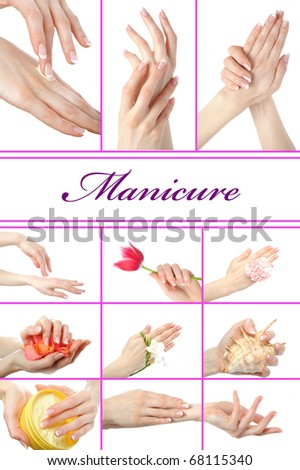 collage.Beautiful hand with perfect french manicure  group photo. isolated on white background - stock photo