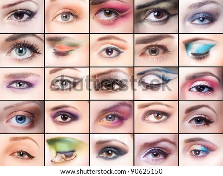 collage, beautiful make-up - stock photo