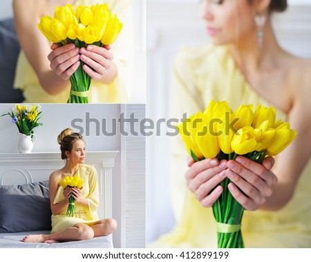 Collage beautiful woman in yellow holding spring tulips flower bouquet - stock photo
