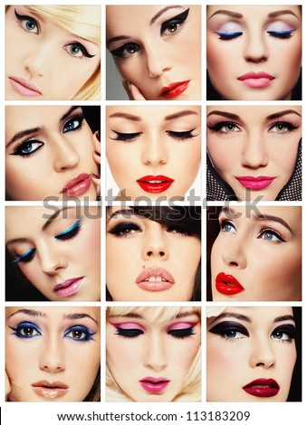 Collage. Beautiful young women with stylish cat eye make-up. Makeup, fashion, beauty. - stock photo