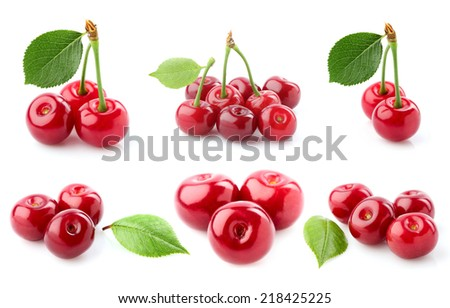 Collage cherry close-up isolated on a white background. - stock photo