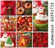 Collage christmas cakes - stock