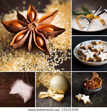 collage christmas with cookies and decoration  - stock photo