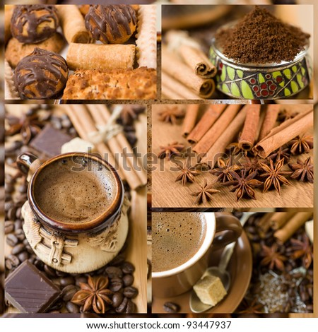 collage. coffee, sweets and spices - stock photo
