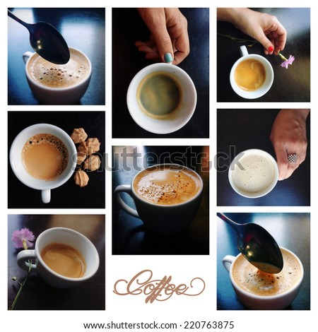 collage coffee with espresso, cappuccino, latte and mocha. Selective focus - stock photo