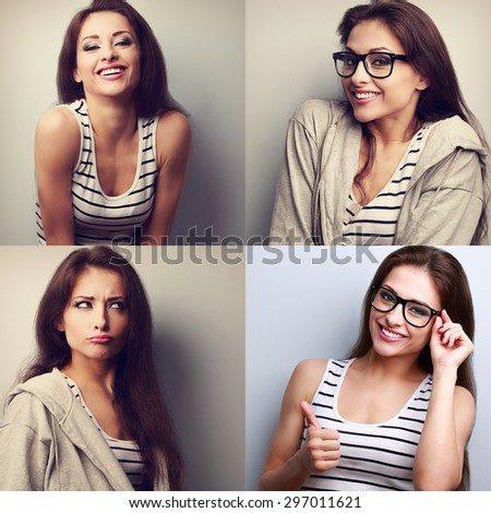 Collage (collection) of beautiful young woman with different face emotions looking happy - stock photo