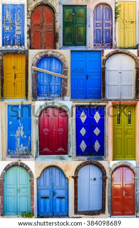 Collage collection of colorful front doors of houses from Santorini, Greece. - stock photo