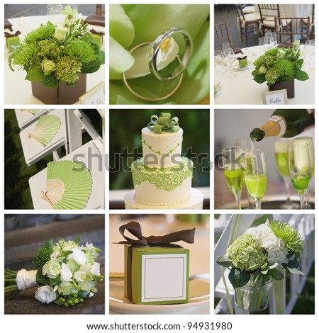 Collage collection of green wedding details from ceremony and reception - stock photo