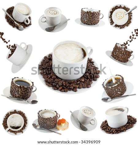 Collage (collection) of various  coffe cups with coffee. Isolated