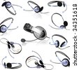 Collage (collections) headsets with a  microphone. Isolated - stock photo