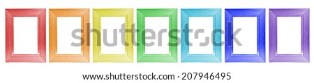 collage colorful wooden frames on white background - stock photo