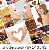Collage compiled of hearts and love symbols - stock photo