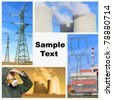 Collage composed of pictures from atomic plant ( Temelin, Czech Republic ) with space for your text. - stock photo