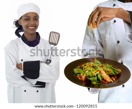 Collage composite image of woman female chef holding spatula and chef sprinkling cheese on healthy salad isolated on white - stock photo