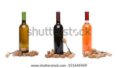 Collage corks and corkscrew with bottle of wine. - stock photo
