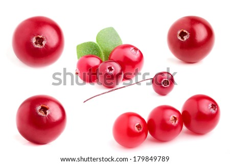 Collage cranberry closeup isolated on white background. - stock photo